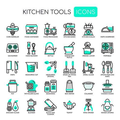 Set di icone dello strumento cucina monocromatica linea sottile