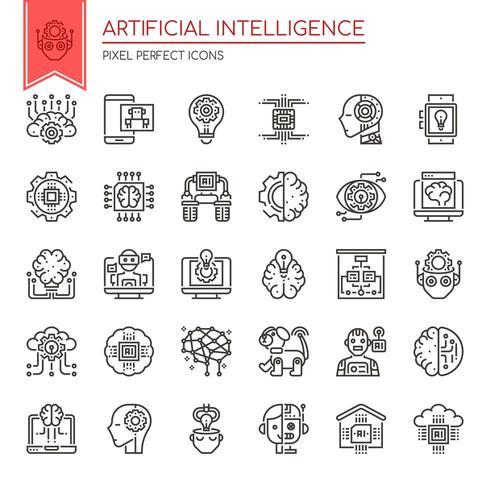 Conjunto de ícones de inteligência artificial de linha fina preto e branco