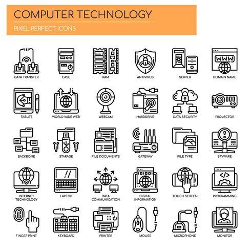 Satz der dünnen Schwarzweiss-Linie Computertechnologie-Ikonen