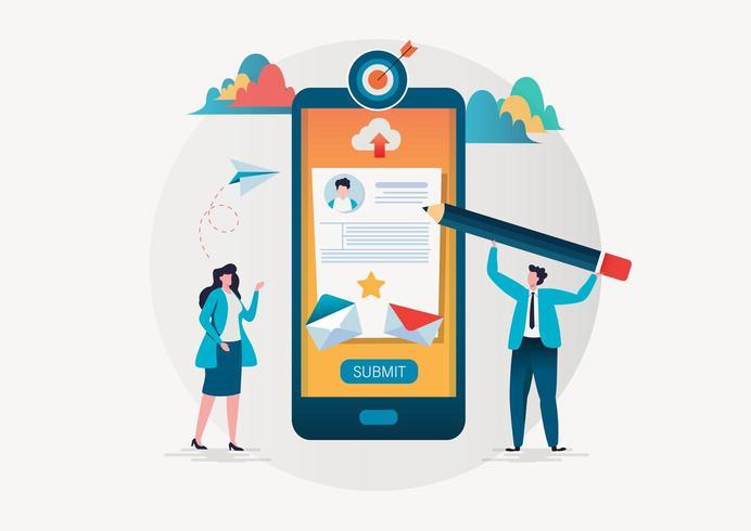 Personnes remplissant un formulaire via une application mobile