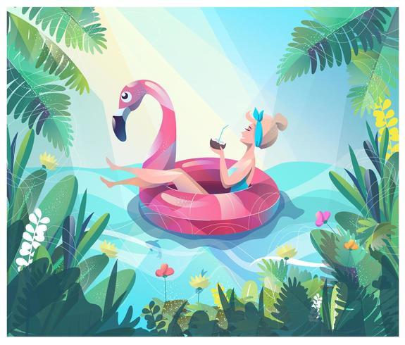 Mujer flotando en flamingo con bebida