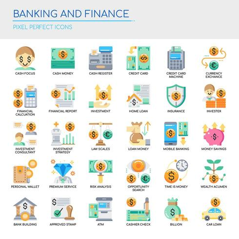 Set of Flat Color Banking and Finance Icons  vector