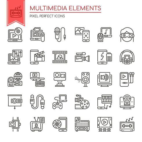 Conjunto de elementos multimedia de línea fina en blanco y negro vector