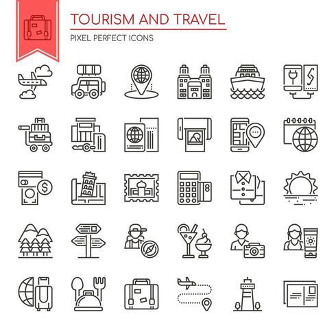 Conjunto de ícones de turismo e viagens de linha fina preto e branco