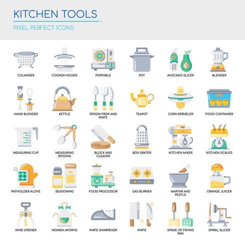Satz flache Farbküchen-Werkzeug-Ikonen