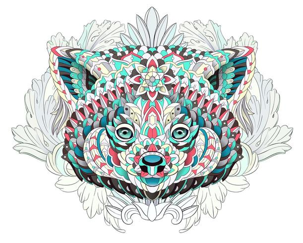 Patterned red panda on the floral background vector