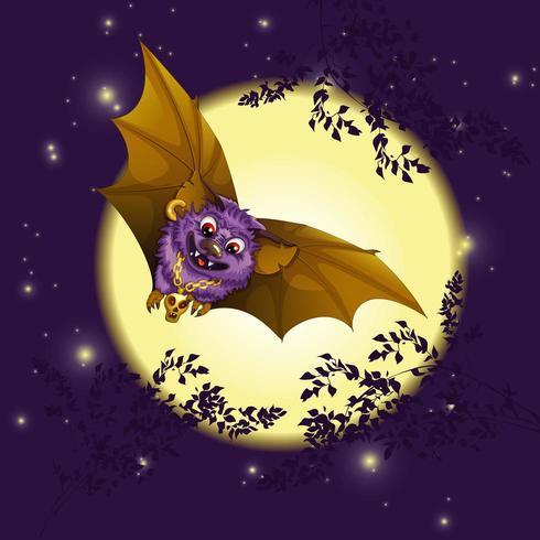 Un murciélago vuela contra la luna llena