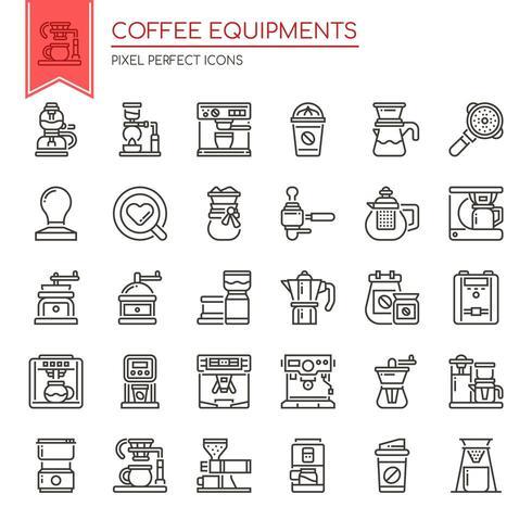 Satz der dünnen Schwarzweiss-Linie Kaffee-Ausrüstungs-Ikonen vektor