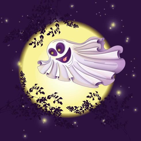 Le fantôme vole contre la lune et le ciel étoilé
