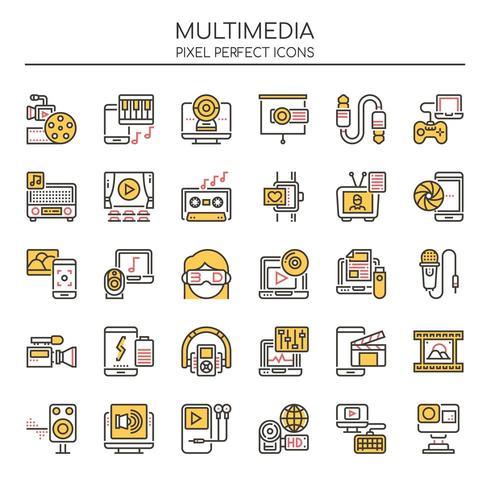 Reihe von Duotone dünne Linie Multimedia Icons