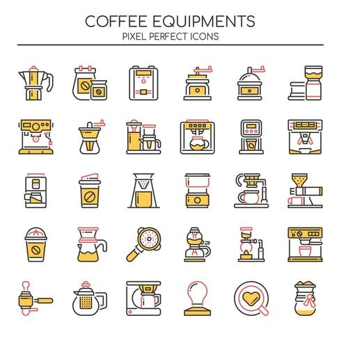 Set of Duotone Thin Line Coffee Equipment Icons  vector