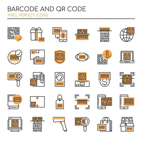 Set of Duotone Thin Lin Barcode and Qr Code Icons