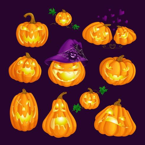 Conjunto de calabazas talladas brillantes de miedo para Halloween vector