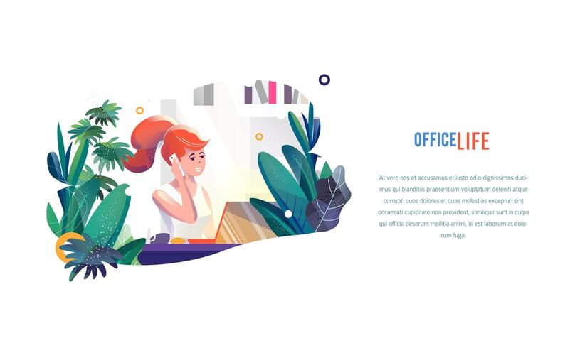 Businesswoman works in office in flat style