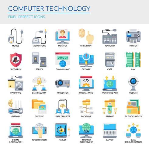 Conjunto de iconos de tecnología informática de color plano vector