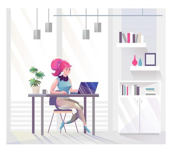 Femme affaires, séance, bureau, bureau