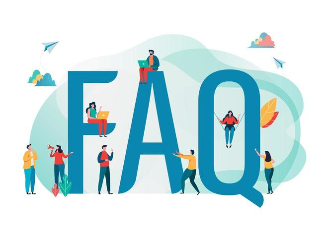 Frequently asked questions concept with people and big letters vector