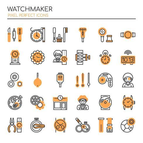 Ensemble d'icônes d'horlogerie monochrome fine ligne