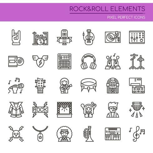 Conjunto de elementos de rock and roll de línea fina en blanco y negro
