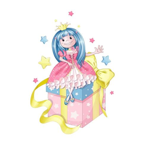 Cute little princess sitting on a gift box vector