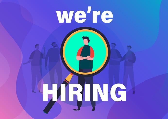 Concepto de reclutamiento Te estamos contratando diseño plano