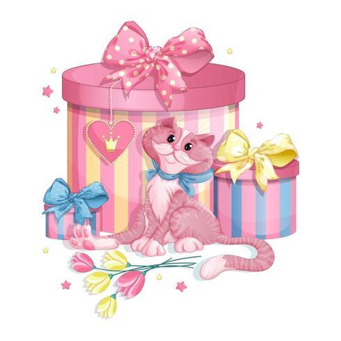 Gatto rosa con scatole regalo