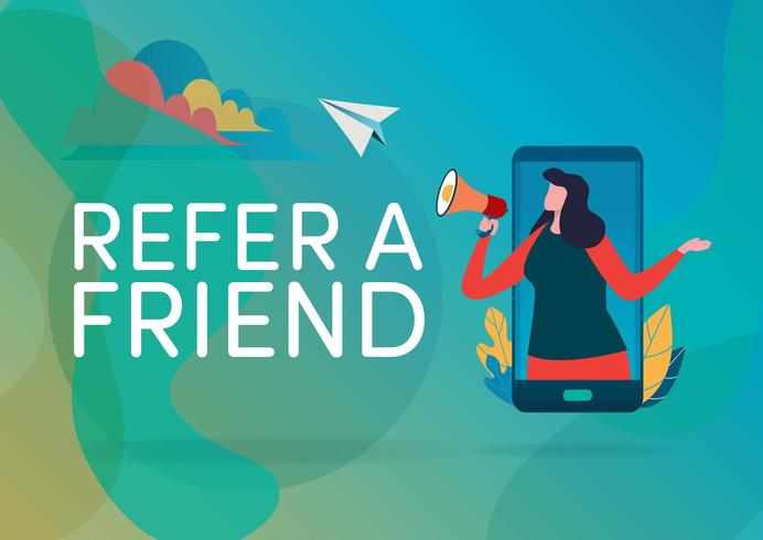 Person in smartphone using megaphone with refer a friend text vector