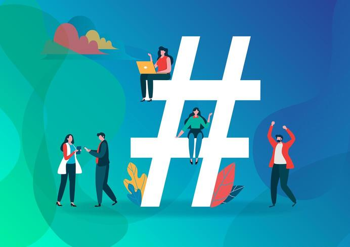Hashtag Symbol and Group of people on social media. vector