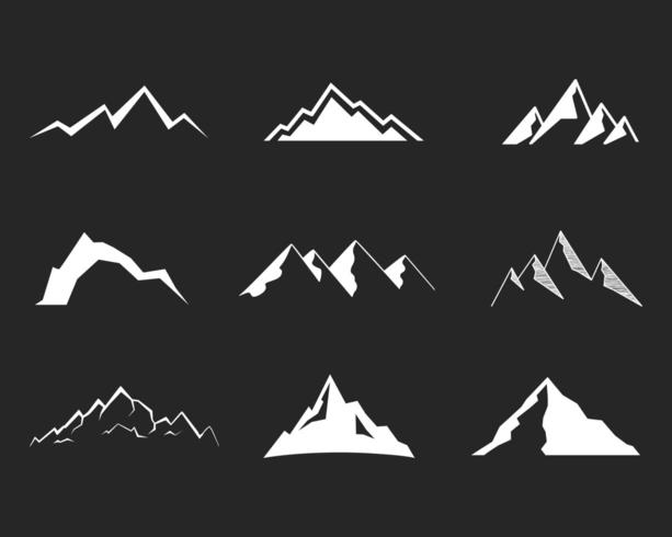 Set of mountain silhouette elements