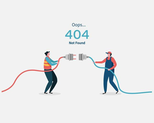 404 error page not found with two men plugging in cords