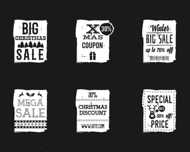 Insieme dei distintivi di vendita di Natale, francobolli con un tag dello shopping invernale.