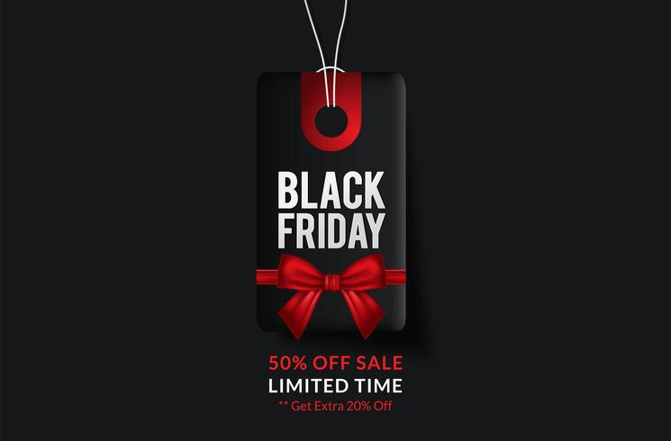 Black Friday-verkoop rode en zwarte tag