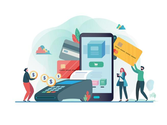 Online payment with smartphone. Shopping on line. vector