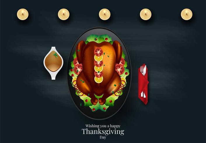 Thanksgiving-diner van bovenaf