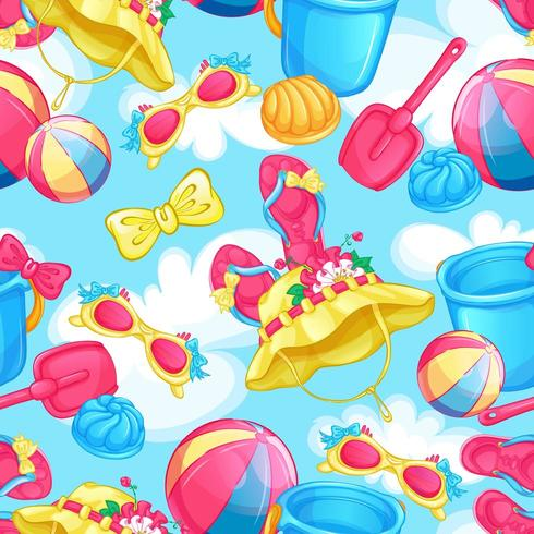 Seamless summer pattern with beach holiday items