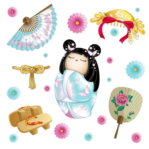 Ensemble japonais avec poupée kokeshi