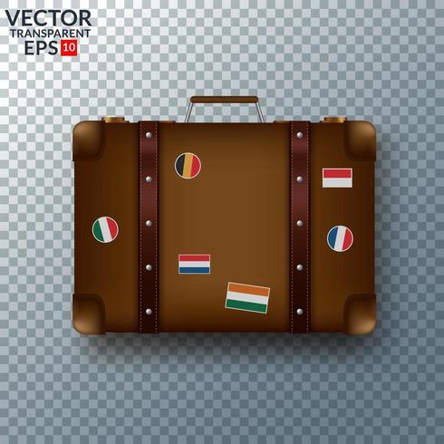 Velha mala de couro vintage com adesivos de viagem