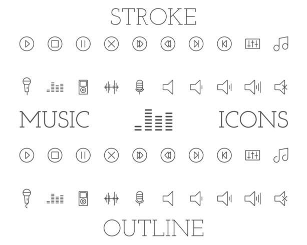 Set di icone di contorno e colpo di musica, design semplice linea sottile
