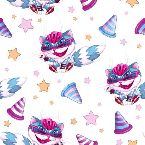 Seamless pattern with a funny cat on roller skates  vector