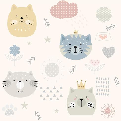 Cute Vintage Cat Seamless Pattern