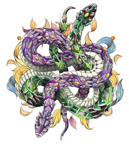 Two intertwined patterned snakes on floral background