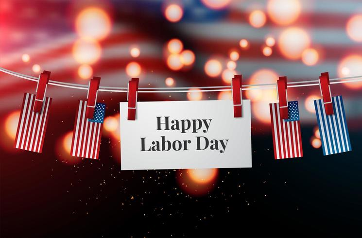 Happy Labor Day flag vector