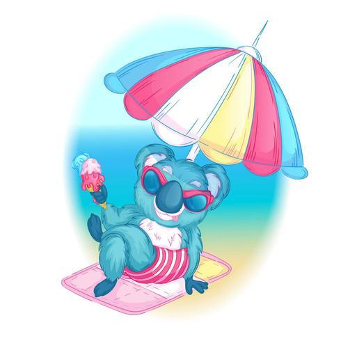 Koala in occhiali da sole in spiaggia