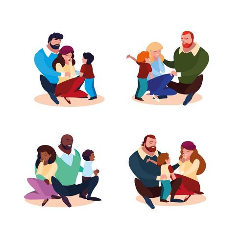 group of parents with children family vector