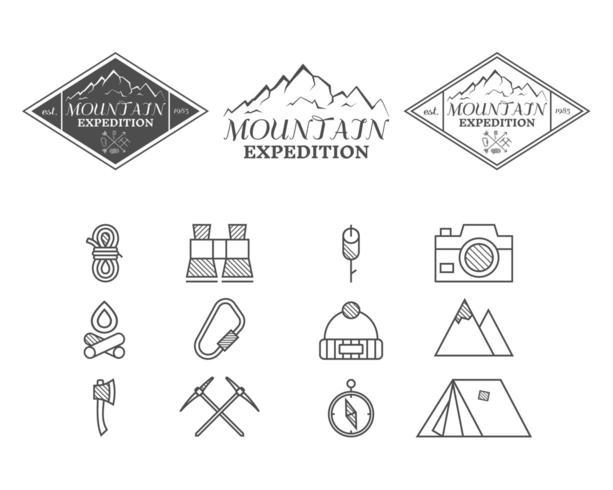 Set di icone e distintivi di campo di montagna vettore