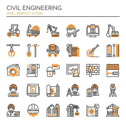 Ensemble d'icônes de génie civil monochrome fine ligne