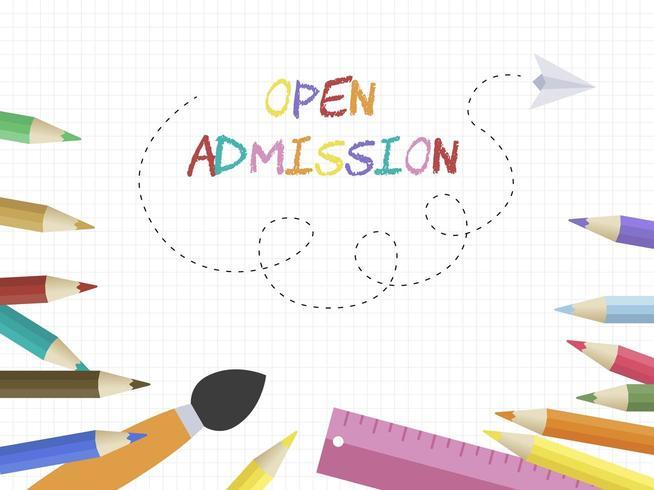 Plantilla de póster de lápiz de color de admisión abierta vector