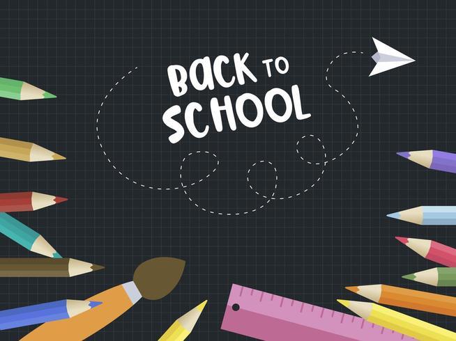 Volver a la escuela Blackboard Colour Pencil Poster Template vector