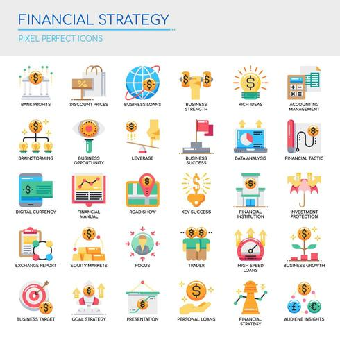 Set of Flat Color Financial Strategy Icons vector