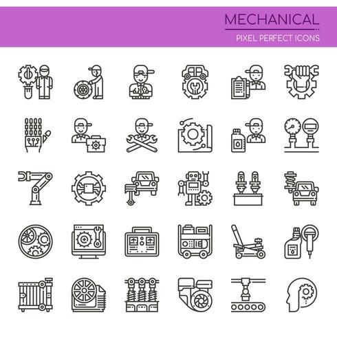 Set di icone meccaniche linea sottile in bianco e nero